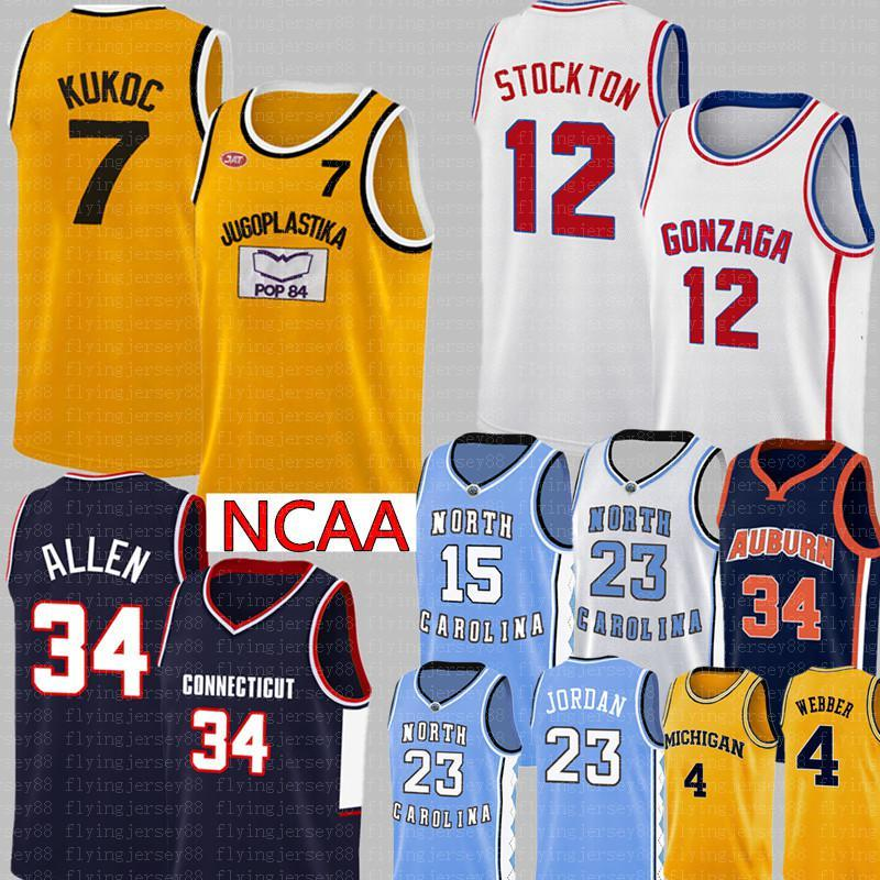 NCAA Toni 7 Kukoc Jersey College John 12 Stockton 34 Allen 34 Barkley Chris 4 Webber Carter Basketball portefeuille