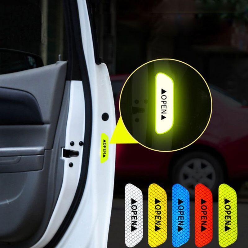 4pcs / set Autoadesivi per porte auto auto universale Segno di avvertimento di sicurezza Apri Autoadesivo del casco del motociclo ad alto nastro riflettente
