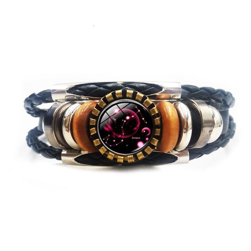 Botón de cuero accesorio de moda clásico 12 constelaciones tiempo creativo antiguo bronce tubo pulsera 2cqm9