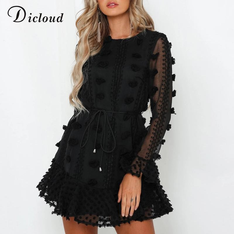 DICLOUD Sexy Pom Poms Women Black White Party Dresses 2020 Spring Winter Long Sleeve Boho A Line Ruffle Dress With Waist Tie T200106