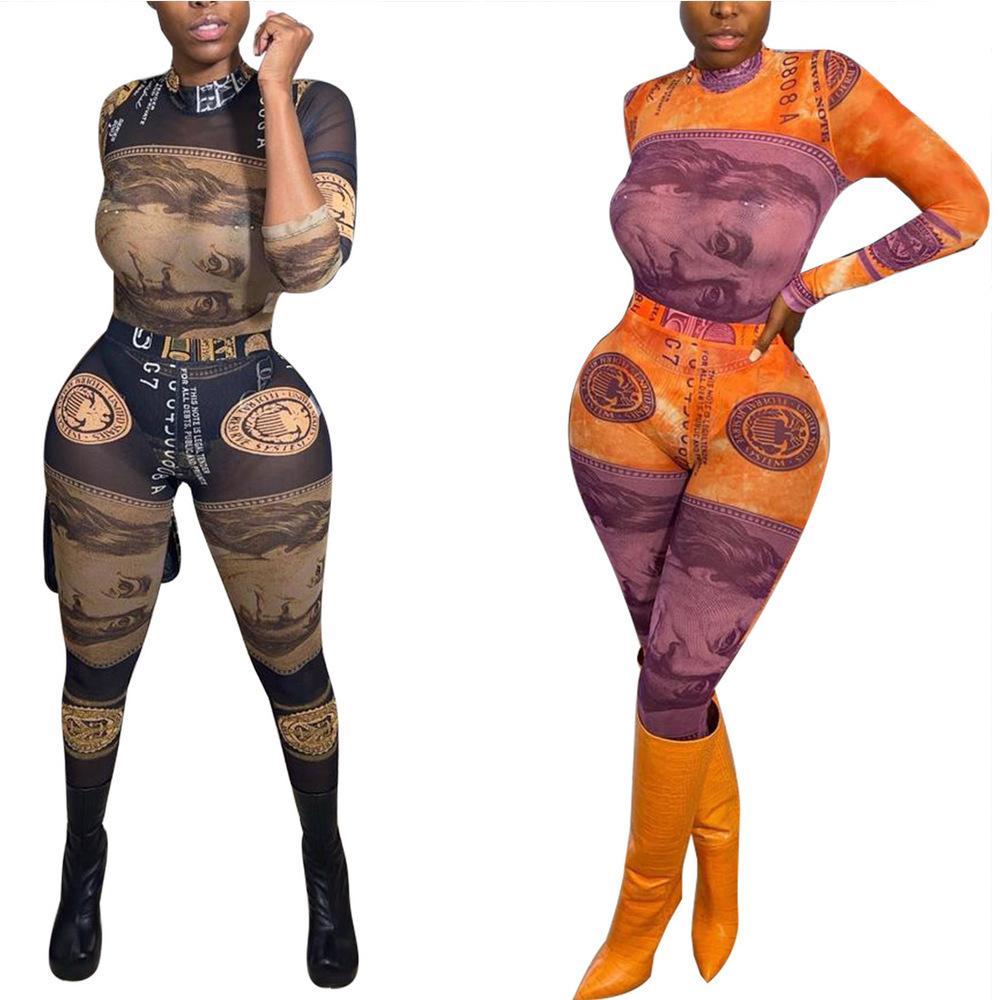 Money Dollar Imprimer 2 Tracksuit à deux pièces Pour Femmes Manches longues Mince Fit Tops et Modycon Legging Streetwear Tenues de remise en forme C0123