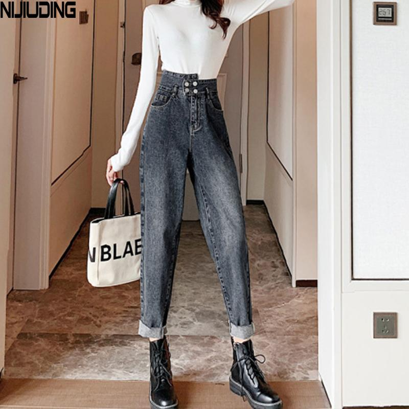 Vaqueros de cintura alta Jeans Solid Harem de NIJIUDING 2020 nuevos mujeres ocasional floja de la oficina de señora Denim Pantalón largo Pantalon Femme A1112