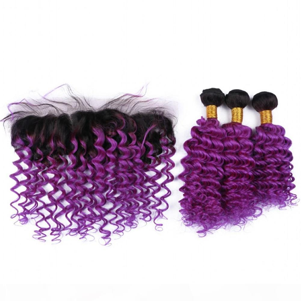 Onda profonda 1b Purple Ombre 13x4 Chiusura frontale in pizzo pieno con 3bundles Virgin Indian Ombre Purple Human Haives Weaves con pizzo frontale