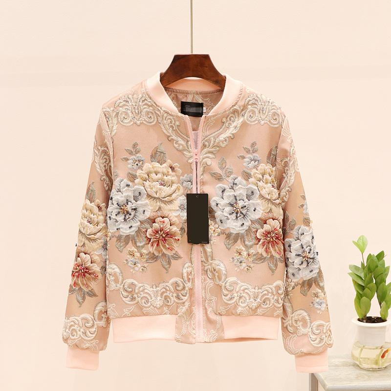 Frauen Vintage Perlen Kurzjacke Mode Floral Stickerei Reißverschluss Mäntel und Jacken Damen Langarm Frühling Herbst Oberbekleidung