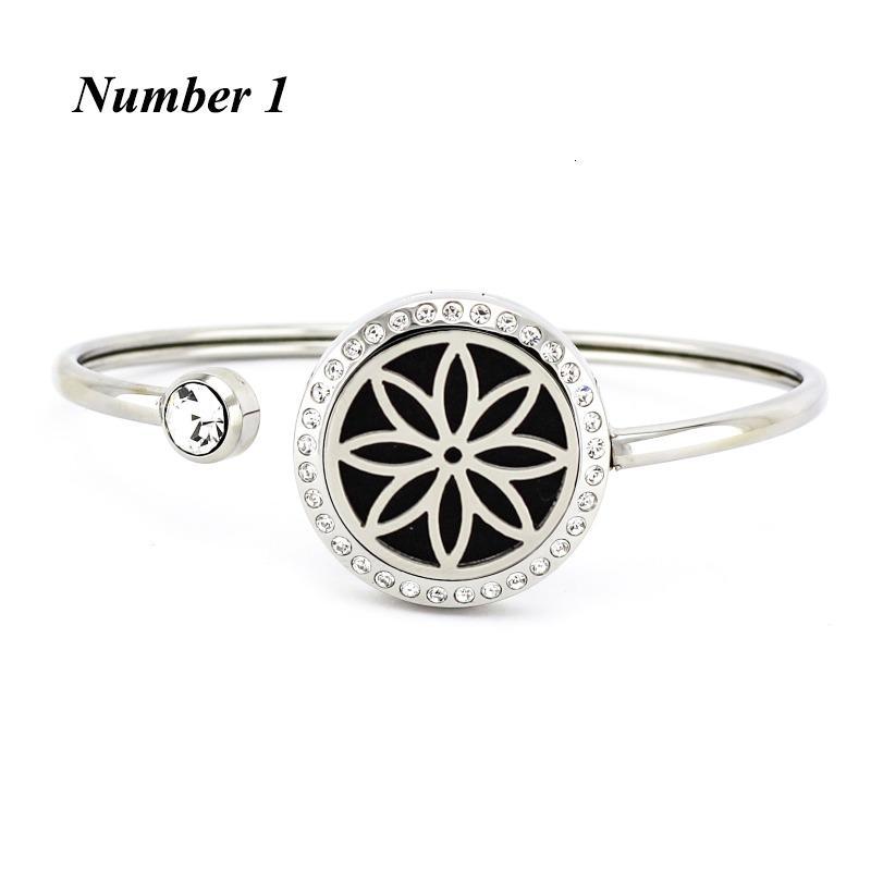 Aço Beauty25mm ímã Aromaterapia Flor de cristal de cristal pulseira bracelete pulseira de óleo essencial difusor de óleo pulseira jewerly