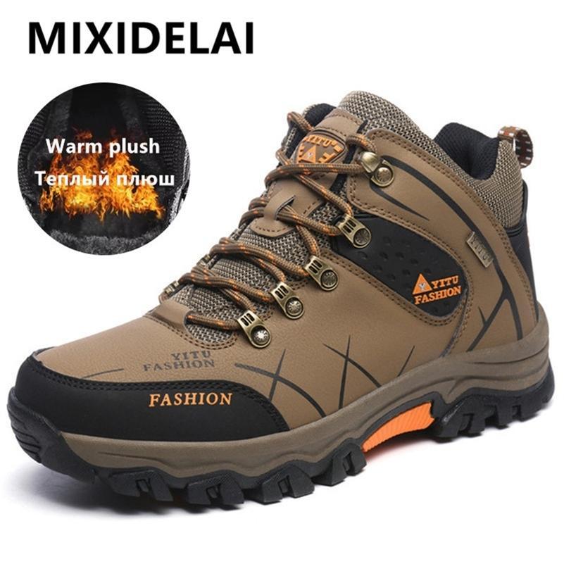 Mixidelai peluş ile sıcak kar rahat kış iş ayakkabıları erkekler ayakkabı moda ayak bileği çizmeler 39-47 lj201214