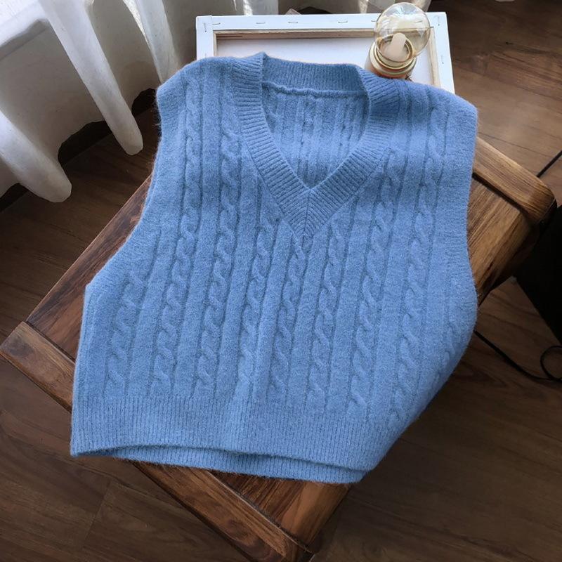 Studente Gilet coreano liscio, senza manica a maglia, colletto è femmina, maglione, gilet, cappotto femminile, vestito semplice, cappotto