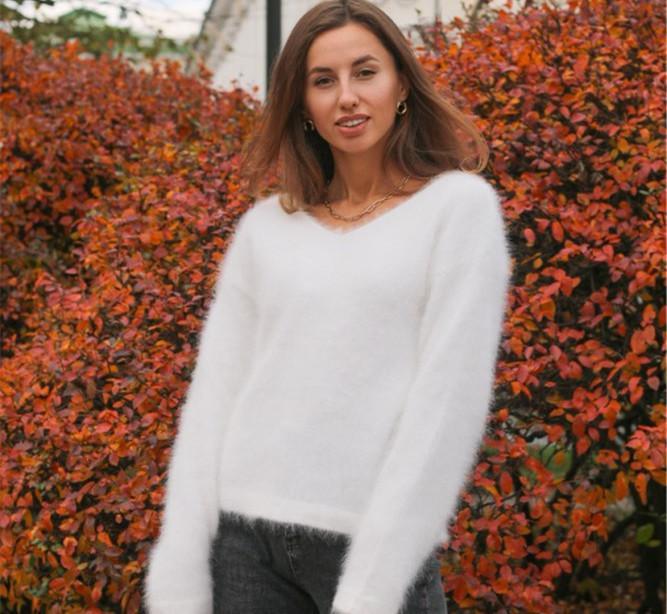 2020 mujeres damas suéteres y jerseys puro 100% visón cachemir punto de punto Angora Fluffy envío gratis JNS002 C1120