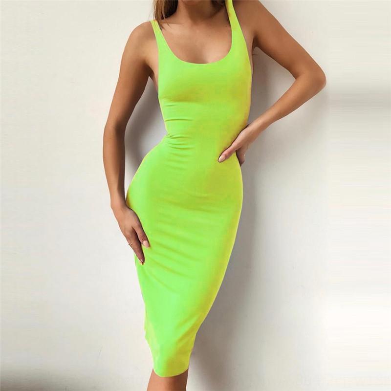7DSHC 2019 Estate New Dress Dressshoulder Strap Dressshoulder Girdle Collo tondo Vestito aderente Tight Dress Tight Lunghezza media