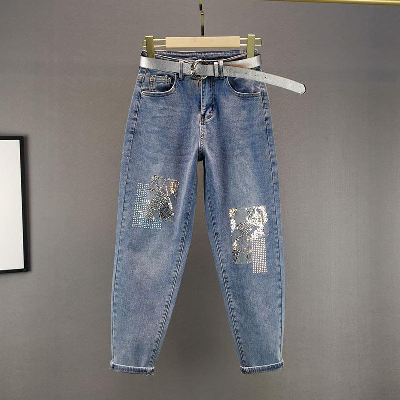 Jeans da donna pesanti ricami ricamo paillettes strass rhinestone harem pantaloni 2021 primavera studenti sciolti studenti casual jean pantaloni