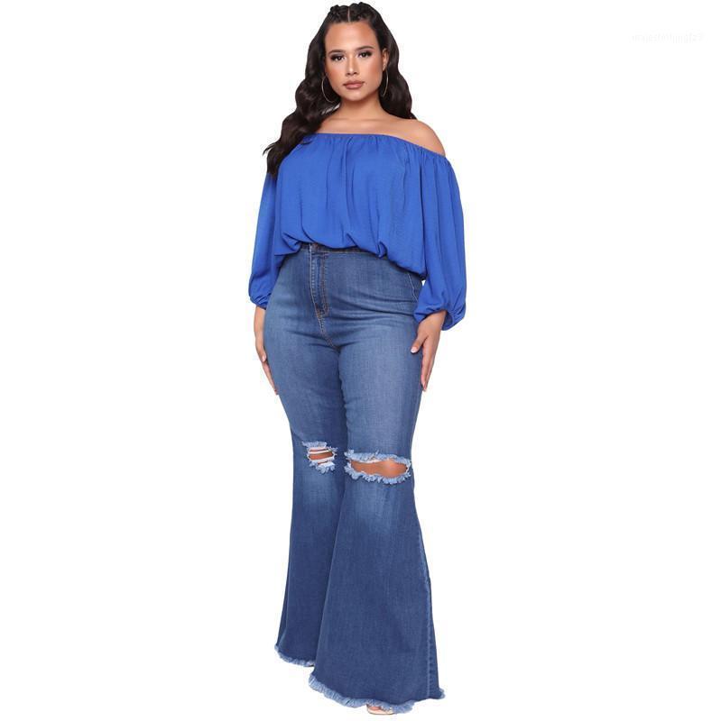 Ropa de talla grande 5XL Jeans acampanados Mujeres Pantalones de cintura alta Romada rasgada Torn Stretch Bell Pantalones de fondo al por mayor Dropshpping 20201