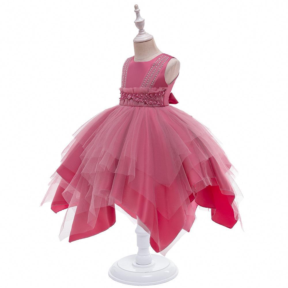 2021 nouvelle princesse haut de gamme Haut-dette Jupe Jupe Jolie Fleur Fleur Robe Enfants Robe Enfants Fille Princesse Robe Automne Hiver Summer Girl