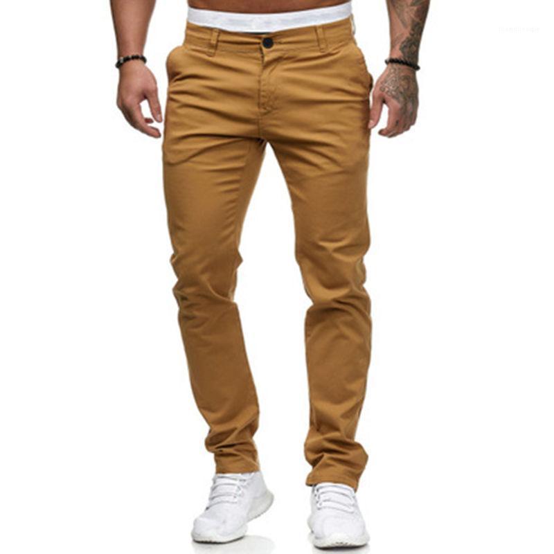Pantalones flacos Moda Occidente Tendencia Hip Hop High Street Deporte Pantalones Lápiz Pantalones de primavera New Skateboard Casual Slim Pantalones Hombres Color Sólido
