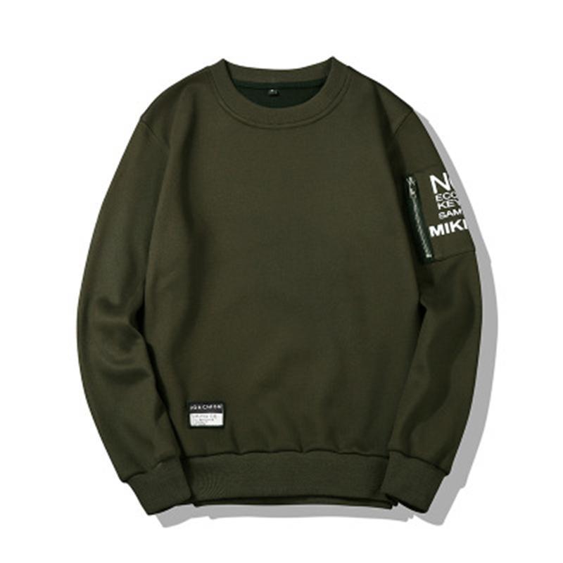 Mens em torno do pescoço camisolas moda versão coreana luva longa pulôver tops macho outono outono novo casual hoodies soltas