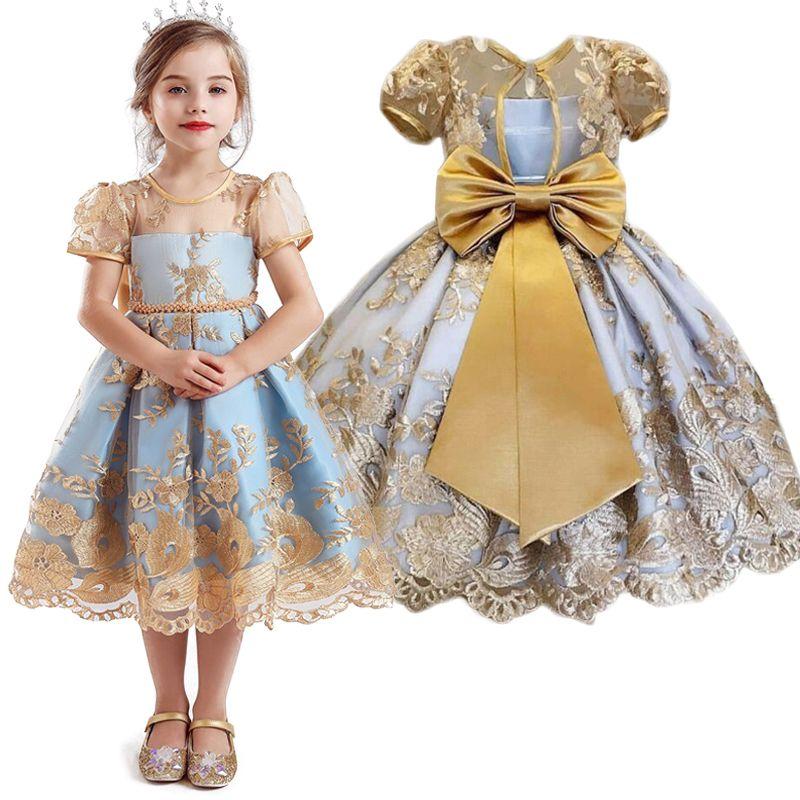 Lace Girls Dress Kids Ceremonies Party Birthday Wear Flower Princess Wedding Gown Baby Girl Children Formal Dresses 4 to 10 Year F1202