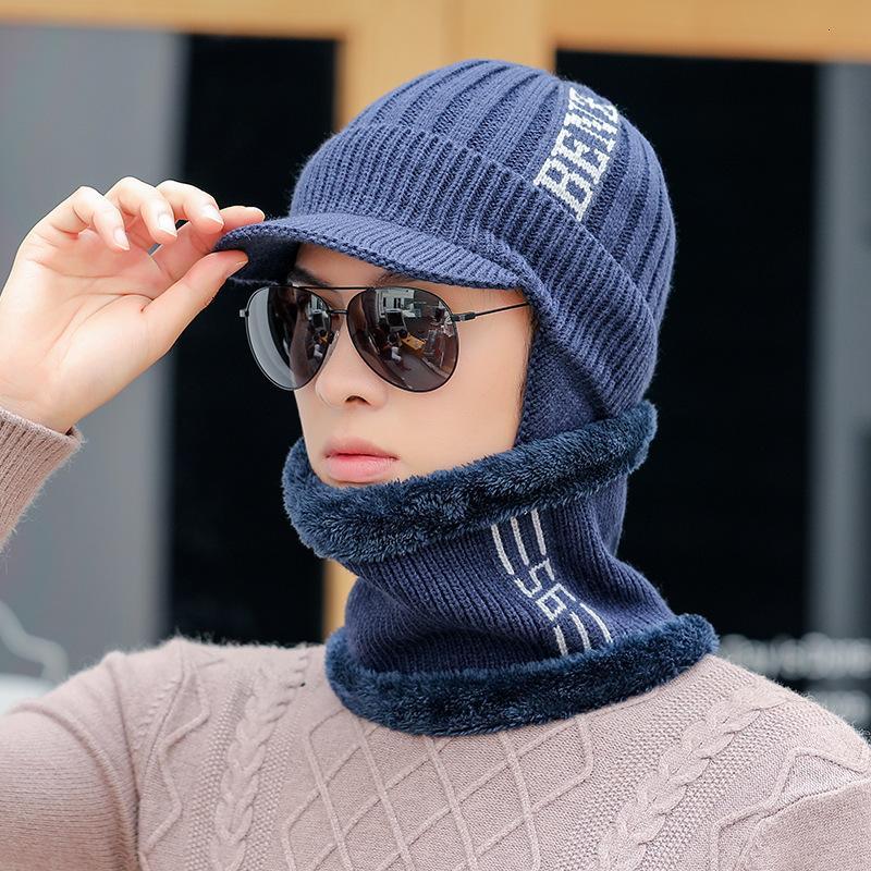 A2 Новый вязаный мужской ушной кепки осенью и теплый шерсть шерсть зимняя утолщение езды Baotou Hat