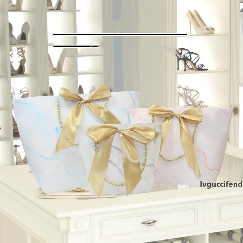 2019 Nouveau marbre d'impression sac de papier cadeau sacs cadeau de mariage de papier de cadeau Décorations Recyclable Party Pochette Faveur Sacs à main Décor