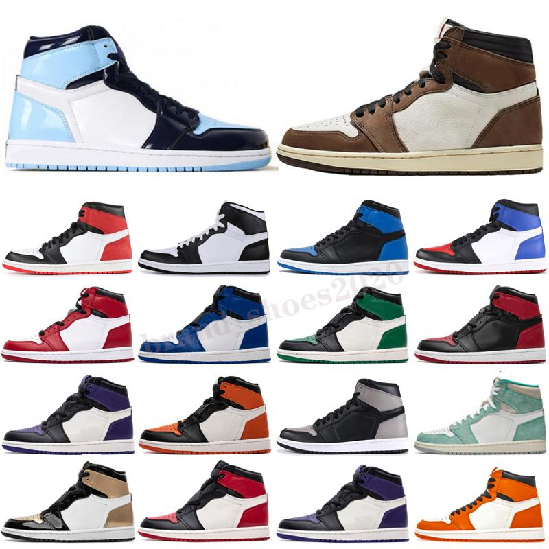 Nuevo 1S OG High Basket Ball Shoes Pine Green Black Court Purple Royal Bred Toe NC Obsidian UNC Game Basket Ball Sneakers Entrenadores