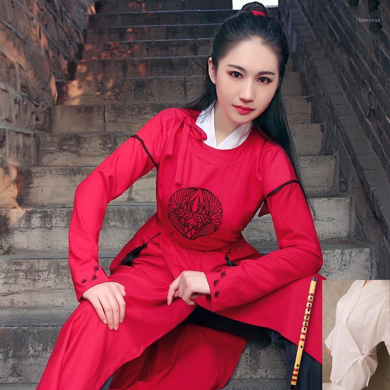 고대 중국어 의상 당나라 민족 긴 소매 Hanfu 민속 댄스 가운 중국 전통 무대 성능 Outfit1
