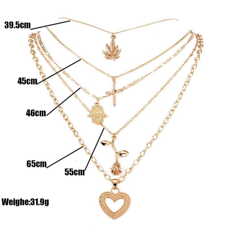 Ciondolo croce fiore bohémien multistrato foglia di foglia rosa per le donne con collana di colore oro regali gioielli