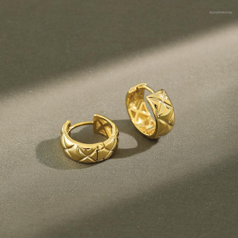 Waffel Rhombus kleine breite Huggie-Hoop-Ohrringe 925 Silber für Frauen Goldfarbe koreanische klappbare Harmelopfohrring Mode 20201