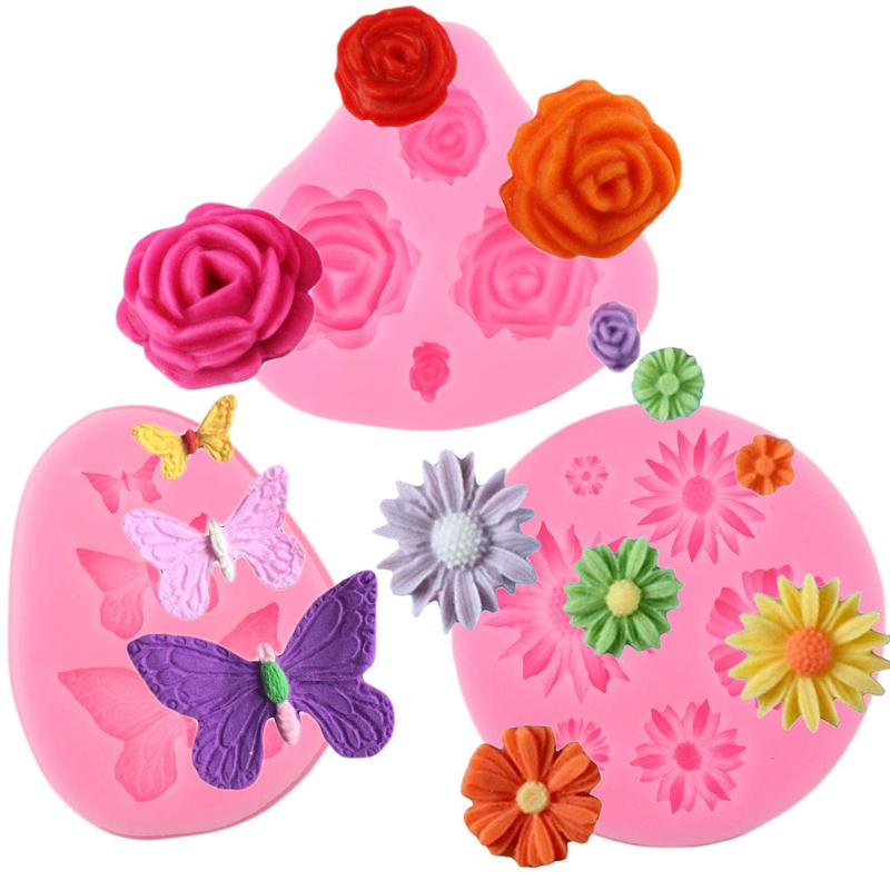 3d Sugarcraft Butterfly Silicone molds fondant Flower mold cake decorating tools chocolate moulds wedding decoration mould