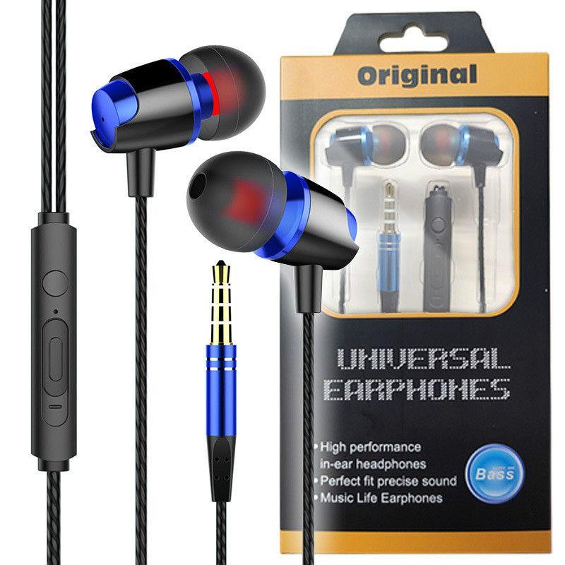 Universal verdrahtete Kopfhörer mit MIC 3,5 mm Jack Metal Subwoofer Stereo-Kopfhörer Sport In-Ear-Ohrhörer für Telefon Tablet PC-Computer MP3-Player