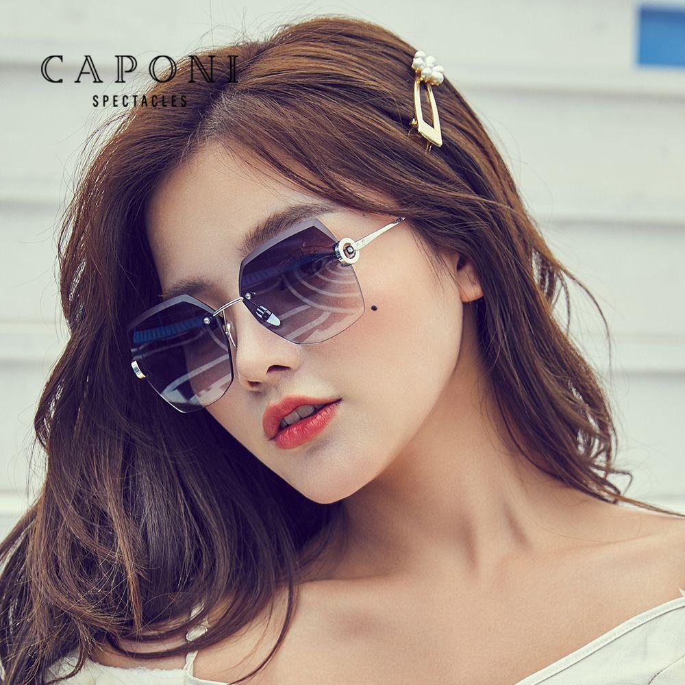 Негабаритные солнцезащитные солнцезащитные очки женщин очки капонен 2020 аксессуары очки безрамоглазные линзы мода леди роскошь резка CP31264 JLTHP