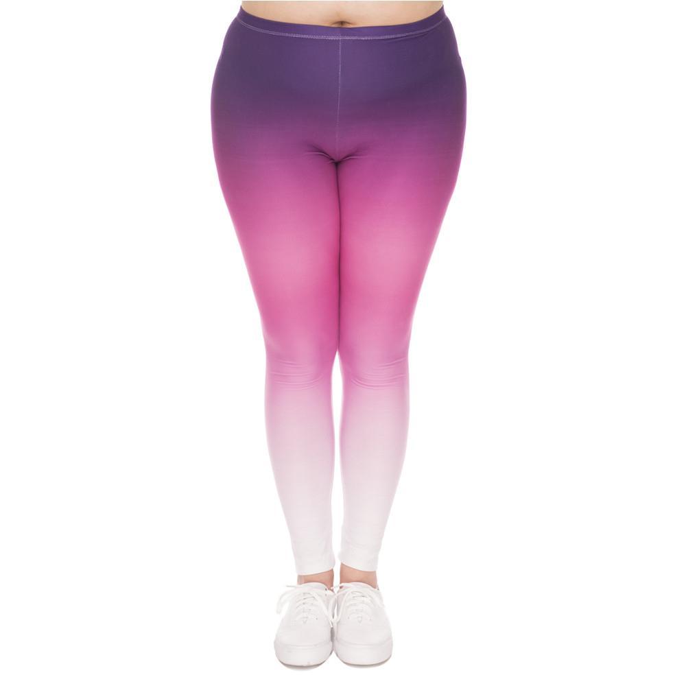 Мода Большой Размер Легинги Градиент Цвет Напечатанный Высокая талия Леггины Плюс Размеры Брюки Растяжки Для Пухлые Женщины H1210