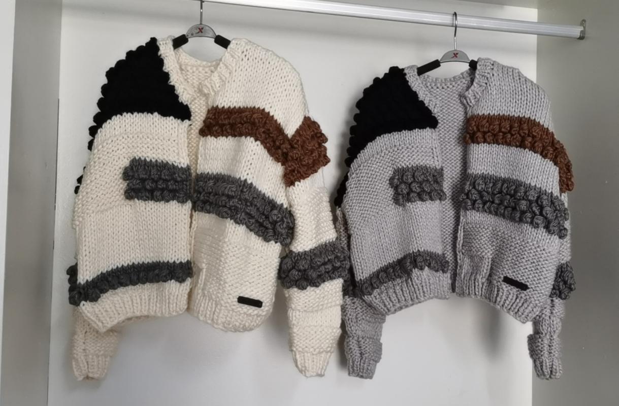 2020 Herbst und Winter Neue handgemachte Pullover Frauen Vintage Temperament Kontrastfarbe Kurz Ball Gestrickte Strickjacke Jacke Trend