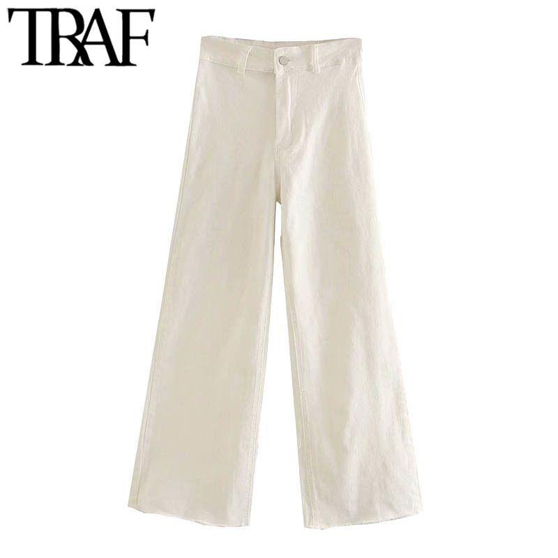 TRAF Frauen Chic Mode Hohe Taille Gerade Jeans Hosen Vintage Reißverschluss Fliegen Taschen Weibliche Knöchelhose Pantalones A1112