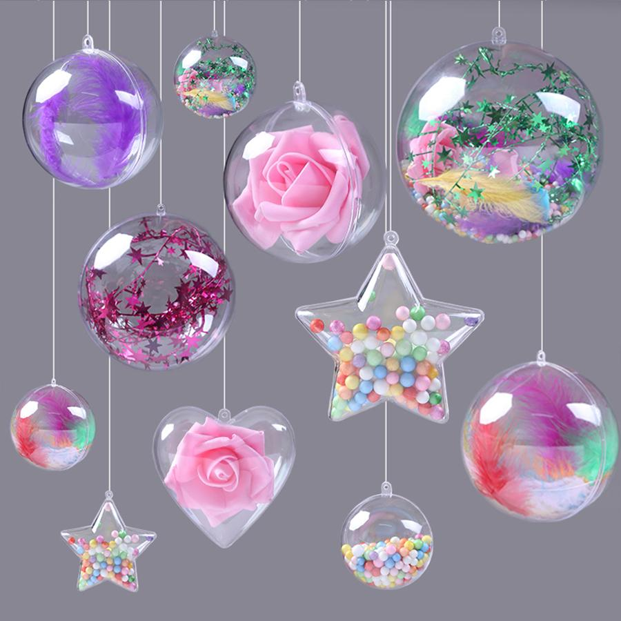 20Pcs/10 Pairs Christmas Clear Fillable Ornaments Ball Acrylic Clear Plastic Ornaments Balls Fillable Wedding Easter Party Decor