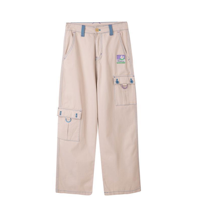 New Design Summer Women's Casual Trousers Large Pocket Capris Full Length High Waist Straight Khaki Ladies Trousers LJ201030