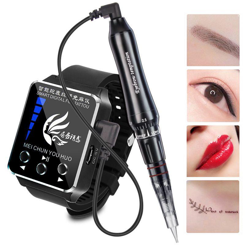 Sehen Sie sich Touchscreen permanent Make-up Tattoo PMU-Nadeln und Tippmaschine für die Augenbrauenlip-Eyeline MTS-System wiederaufladbare Batterie