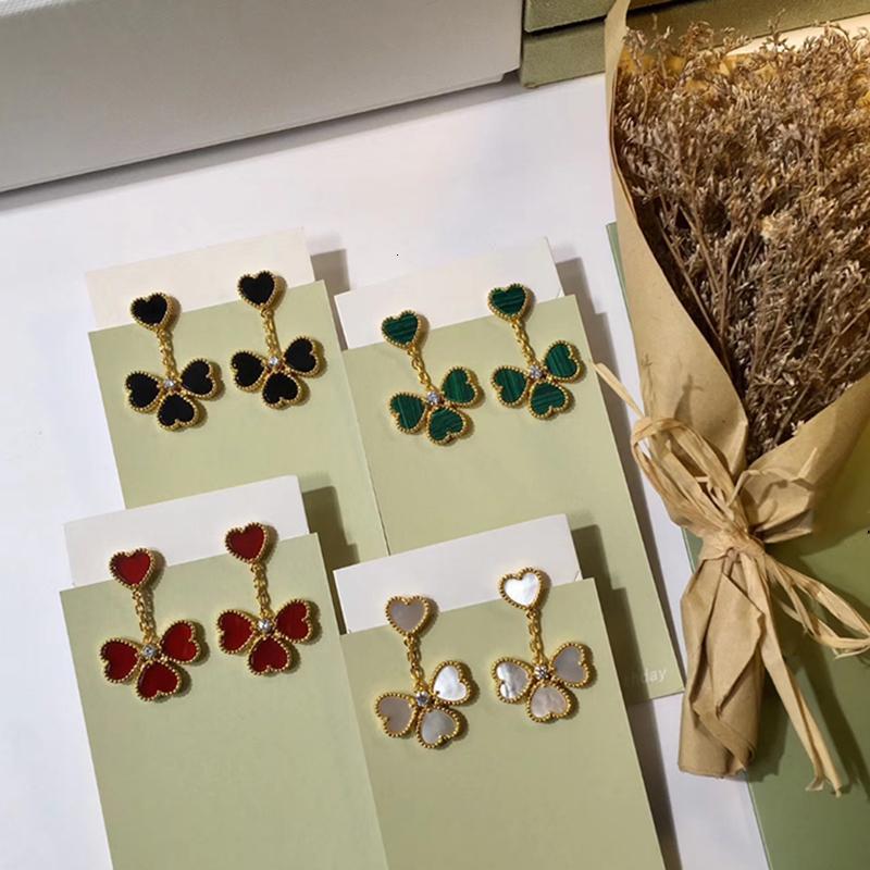 Hot Brand Fashion Party Jewelry per le donne colore oro rosso anelli di cuore orecchini gioielli set 4 foglia cuore fiore set monili set 201123