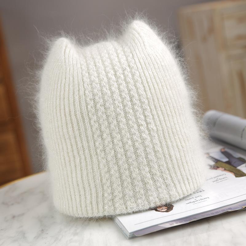 Schöne Wintergestrickte Frauen Casual Weiche Warme Angola Kaninchen Fur Mütze Hüte für Glris Lady Bonnet Gorros