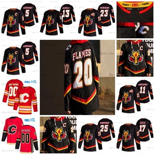 Jacob Markstrom Calgary Flames 2021 عكس الرجعية جوني جودرو موناهان سام بنيت إلياس لينهولم باكتولوند ماكدونالد جيرسي