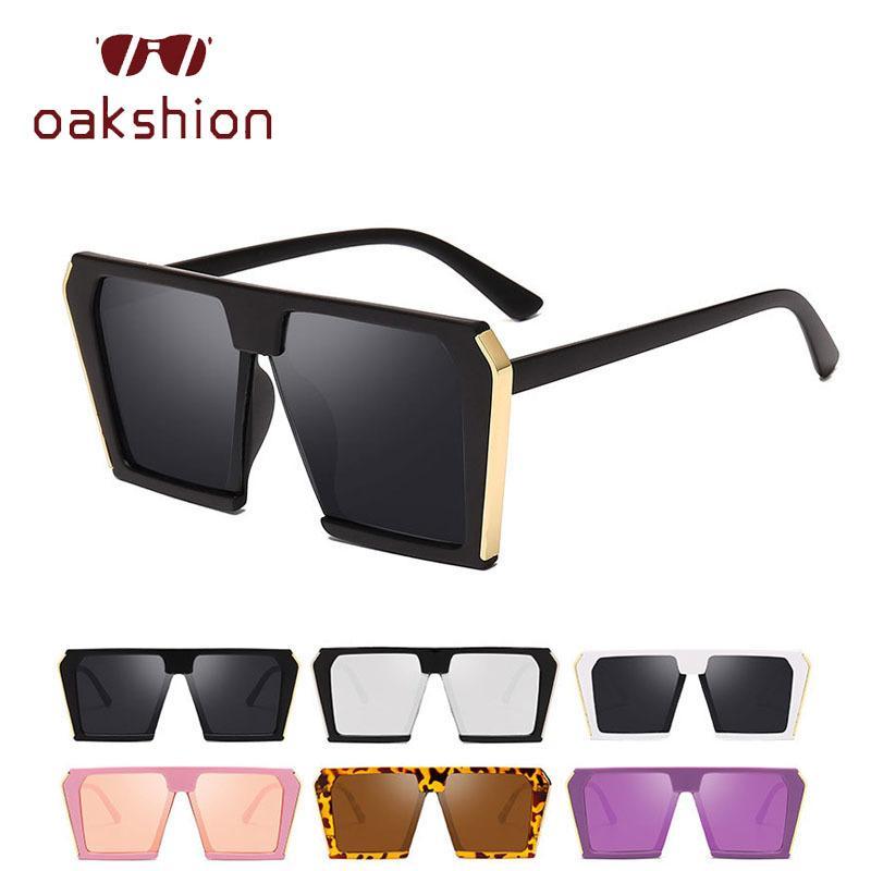 Oakshion Büyük Kare Kadınlar Shades De Designer ulculos Çerçeve Vintage Boy Moda Güneş Cam Kadın Marka Güneş Gözlüğü Sol UV400 SRJDQ