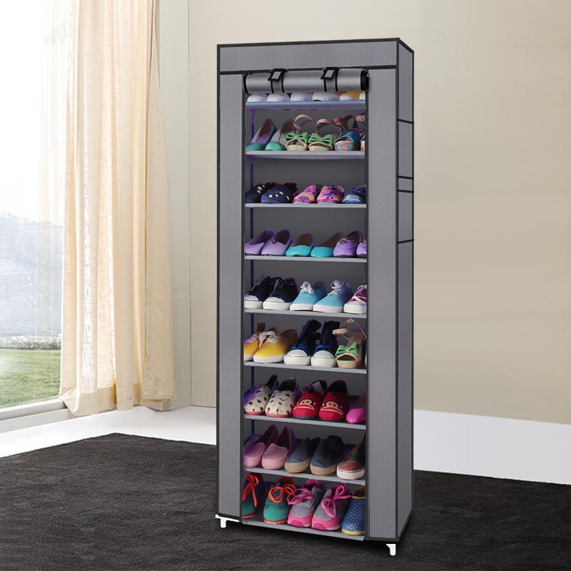 Нетканая стойка для хранения обуви Домохозяйственная обувь Шкаф 10 слоев 9 Сетка Большая емкость для хранения обуви пылезащитный серый с крышкой