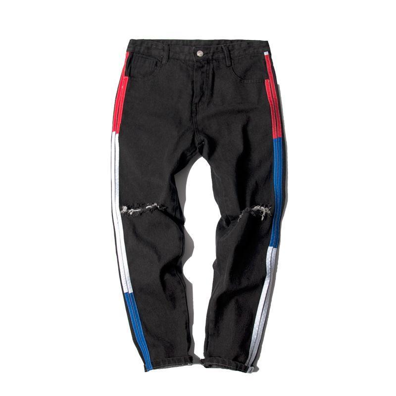 Мужские джинсы Летние 2021 Мода Хип-хоп Повседневная Джинсовая Лодыжка Длина Брюки Корейский Гонконг Ветер Полосатый Коленый Ноу