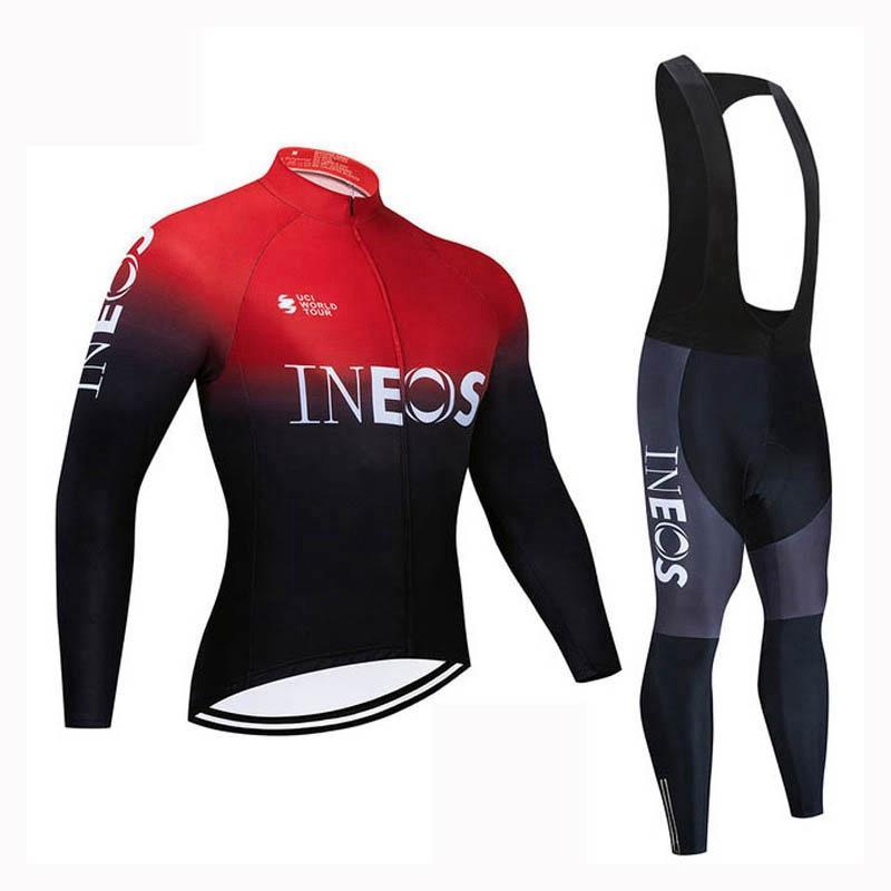 남자 가을 봄 ineos 팀 사이클링 저지 세트 투어 드 프랑스 긴 소매 MTB 자전거 옷 도로 자전거 복장주기 운동복 S21012825