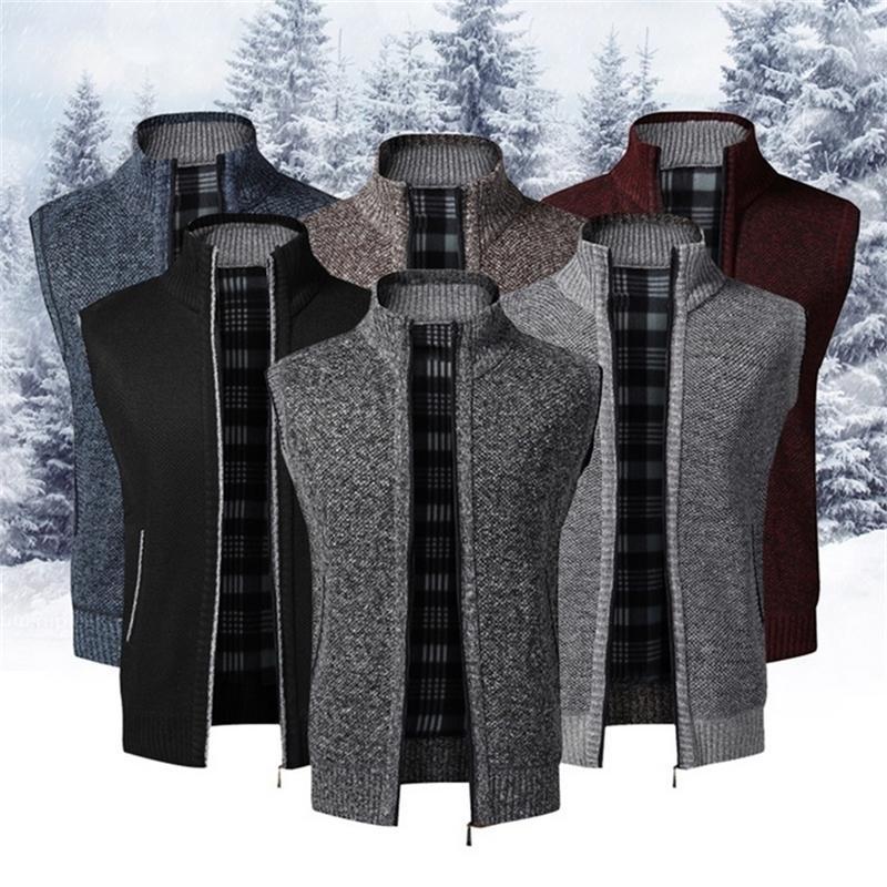 Осень зимние мужские без рукавов свитер пальто теплый стенд молнии свитер кардиган мужчин вязаный жилет поступления повседневный вязальщик 201221