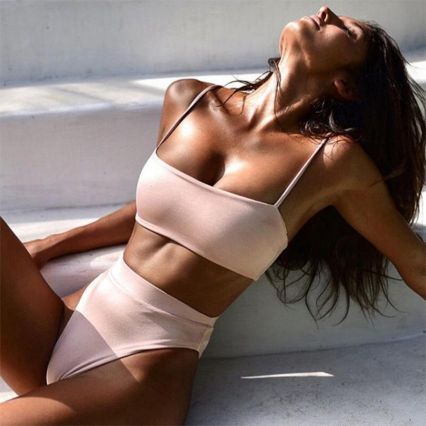 2020 New Sexy Suspender High Waist Solid Women's Split Bikini Swimsuit N3NX
