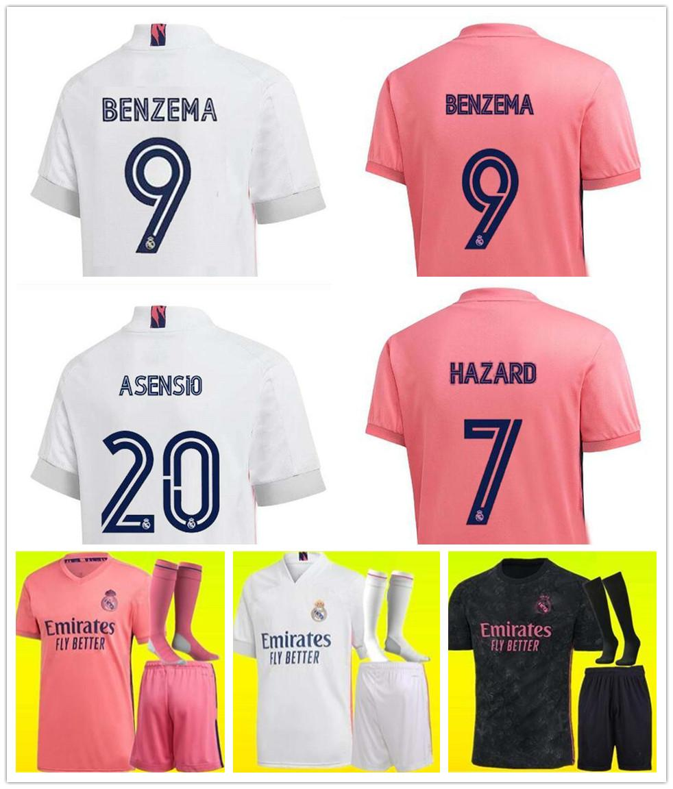 20 21 Adulto Crianças Real Madrid Soccer Jersey Kit Hazard Home Away Camisa de Futebol Asensio Isco Marcelo Madrid 20 21 Crianças Kit Futebol Uniformes