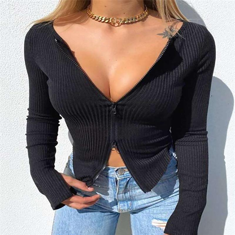 Mulheres Front Zipper Ribbed Colheita Outono Color Sólido Zip Manga Longa V Neck Tight Knitwear Camisetas Tops