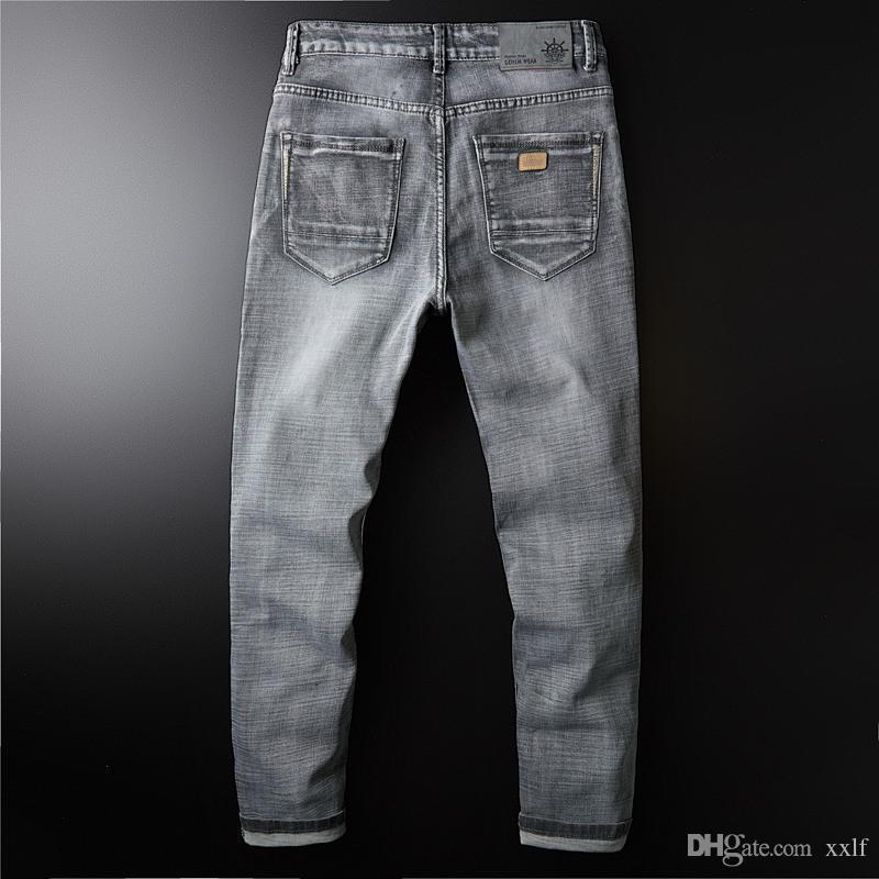 Klassische Denim Herren Jean Elastizität Jeans für Männer Casual Langer Hosen Hosen Hochwertige Biker Markenkleidung KG-749