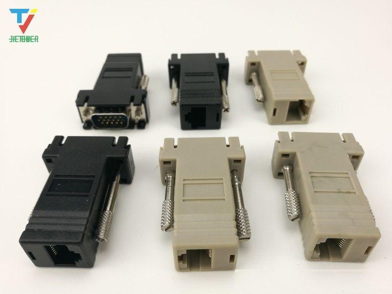Cable adaptador de red de alta calidad Extensor VGA macho a LAN CAT5 CAT5e CAT6 RJ45 Hembra 500PCS / LOT