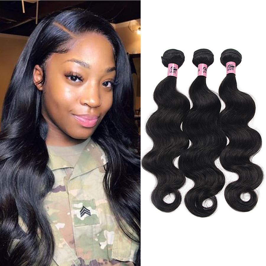 Namibeauty Brasileño Virginal Peluquería Body Wave 3 Bundles 100% Extensiones de cabello humano sin procesar Color natural