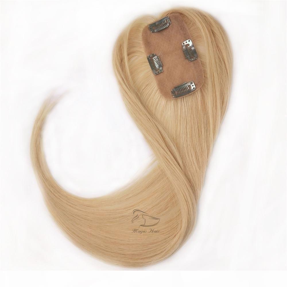 Remy Human Hair Toupee Personalización Según sus requerimientos Pieza de pelo Topper de las mujeres rectas 2.5 * 5 Base de seda para el cabello delgado