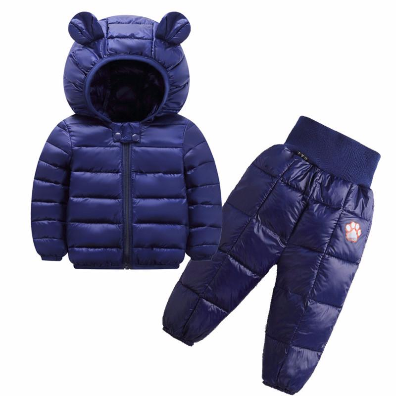 Feste Farbe Kinderkleidung Sets Winter Baby Mädchen und Jungen Jacken Hosen Anzug Down-Cotton Kinder Kleidung für 1-5 Jahre alt 201031
